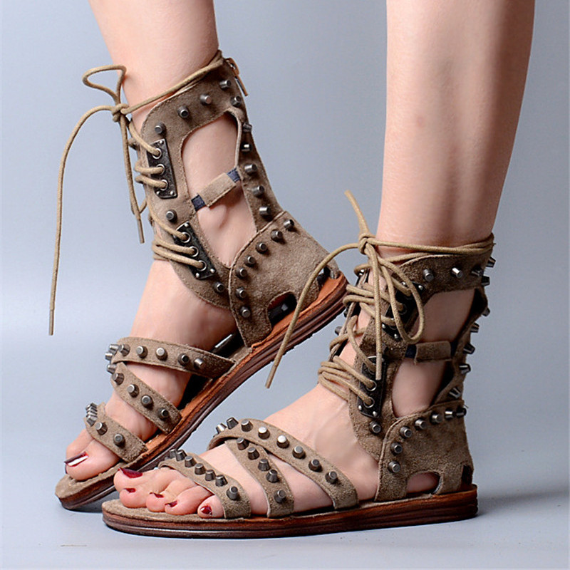 Aliexpress.com   Buy Prova Perfetto Punk Style Rivets Studded Summer Women  Flat Sandals Suede Lace Up Gladiator Sandals Women Beach Shoes Woman from  ... 286aea9d7607