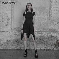 Punk Rave Gothic Black Casual Slim Fitting Fashion Tassel Sexy Irregular Hem Women Dress OPQ316