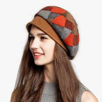 Lady New Wormwood Hat Female New Winter Plaid Beret Hat Female Fashion Painter Knitted Cap Students