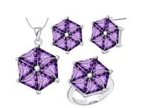 925 Sterling Silver custom made new crystal suit purple Ring Women s Necklace Earrings Jewelry