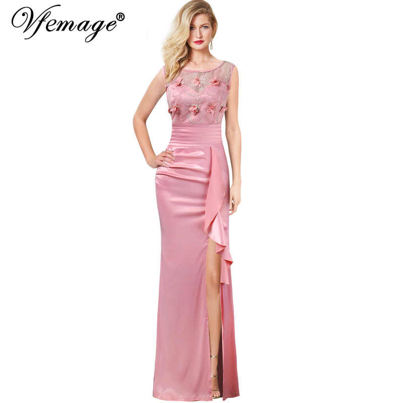 99a150b3af Vfemage Womens Embroidery Ruched Ruffles High Slit Formal Evening Wedding  Party Mother of Bride Special Occasion Maxi Dress 290