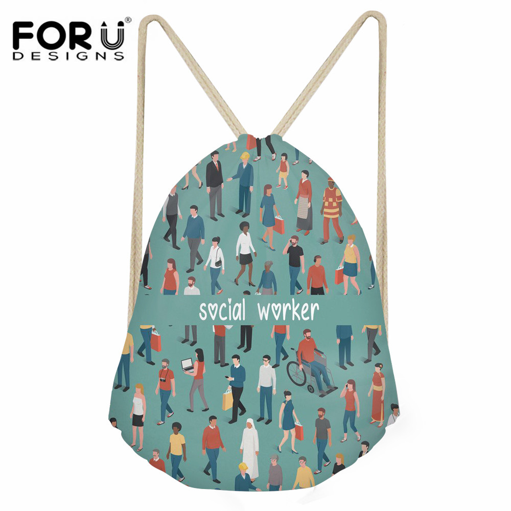 FORUDESIGNS Social Worker Pattern Casual Small Drawstring Bag For Girls Daily String Backpack Lady Polyester Beach Travel Bags