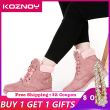 Koznoy New Pink Women Boots Lace up Solid Casual Ankle Boots Booties Round Toe Women Shoes winter snow boots warm plush цены онлайн
