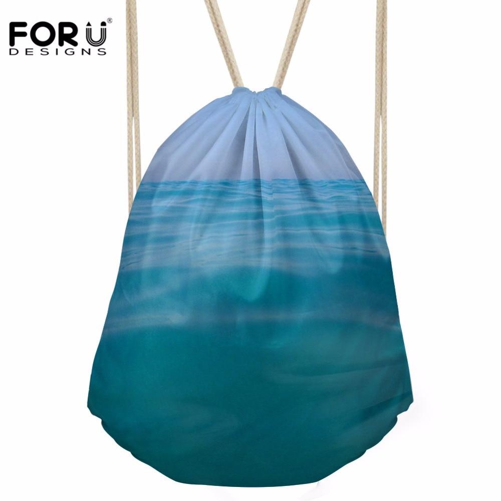 FORUDESIGNS Drawstring Bag Women's Sea Printing Daypack Females Logo Customized Shopping Pocket For Kids Fashion Pouch Mochila