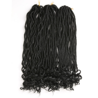 ELEMENT Synthetic Crochet Braids Faux Locs Curly Crochet Hair 72 Roots Hair Extensions 22 inch Pure Color Crochet Braiding Hair