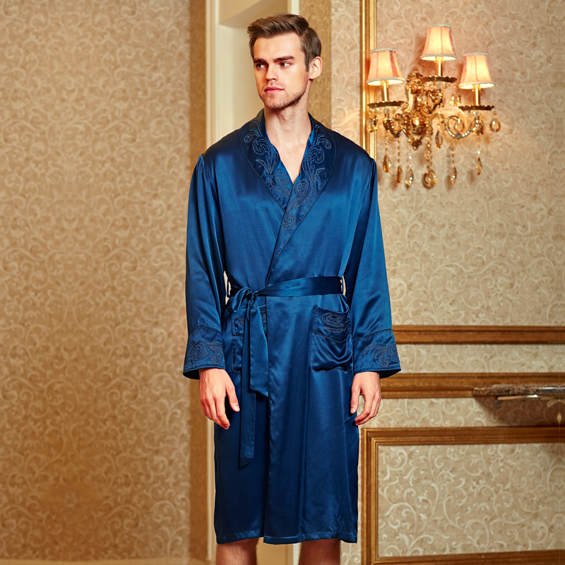 Spring Luxurious Silk Robes Male Silk Sleepwear Long Sleeved Bathrobes Kimono 100 Silk Men Pyjamas D5033