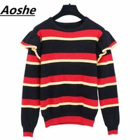 Aoshe Sweater For Women 2018 Winter Design Ruffles Patchwork Wool Knitted Sweaters Red Black Striped Slim Pullover Jumper