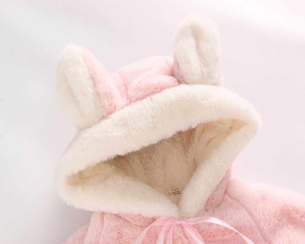 Для малышей, для маленьких девочек, носки для новорожденных теплые зимние пальто с капюшоном, детское теплое зимнее пальто с куртка-плащ с милыми бубонами меховым помпоном, головные уборы, заячьи ушки, одежда # TX5