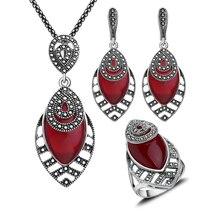 5 Colores Únicos de Plata Antiguo Plateado collar Conjuntos de Joyas de Resina de Color Rojo Y Cristal Colgante Collar Conjunto Joyería de Las Mujeres de Regalo de Navidad
