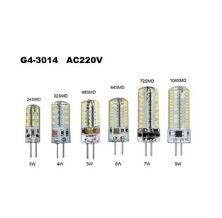 3W 4W 5W 6W 7W 9W G4 SMD 3014 LED Crystal Lamp Light AC 220V Silicone Body LED Bulb Chandelier 24/32/48/64/72/104LEDs 1PCS/Lot