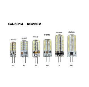 3W 4W 5W 6W 7W 9W G4 SMD 3014 LED Crystal Lamp Light AC 220V Silicone Body LED Bulb Chandelier 24/32/48/64/72/104LEDs 1PCS/Lot