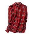 Женщины PLAID блузка 1000% НАТУРАЛЬНОГО ШЕЛКА шифон блузки свободные кнопка рубашка Blusas femininas 2017 НОВЫЙ топ Красный