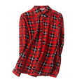 Mujeres PLAID blusa de SEDA VERDADERO de 1000% blusas de la gasa floja camisa con botones Blusas femininas 2017 NUEVA top Rojo
