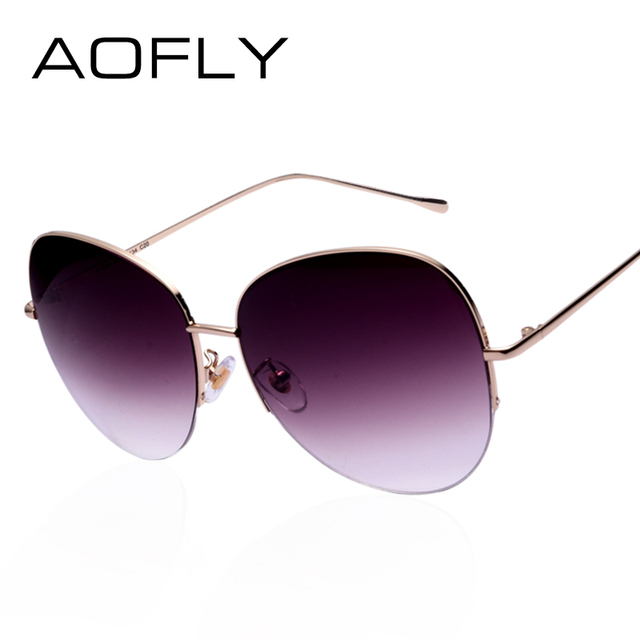 Women Oversize Sunglasses Metal Semi-Rimless Glasses Fashion Vintage Summer Style Outdoor Sport Sunglasses Men oculos