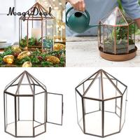 MagiDeal Geometric Terrarium Metal Faceted Succulent Plants Air Planter Jewelry Holder Anti Brass Novelty Gift