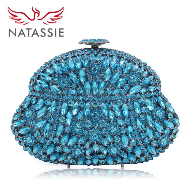Natassie New Ladies Deluxe Designer Crystal Small Evening Bags Women Wedding Bags Party Purse Day Clutches Chain Blue Diamond
