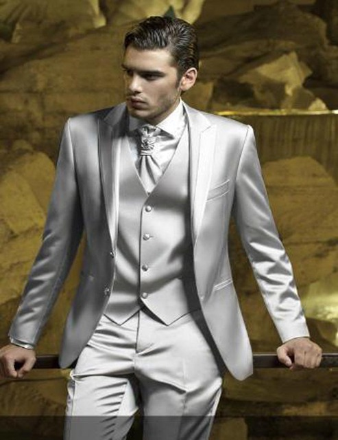 Groomsmen suits silver Wedding suits for Men groom Tuxedos peaked ...