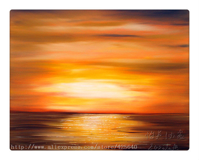 Golden Sunset Oil Painting Ocean Wave Abstract Seascape