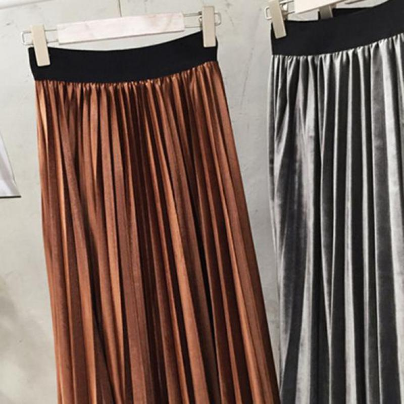 Spring 2019 Women Long Metallic Silver Maxi Pleated Skirt Midi Skirt High Waist Elascity Casual Party