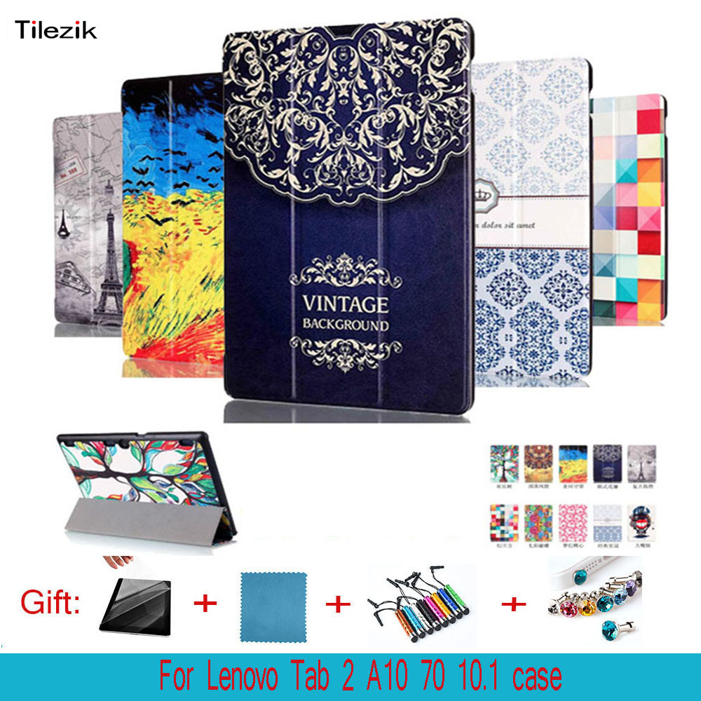 Painted Case For Lenovo Tab 2 A10 70F Case Cover For Tab2 A10-70 70 A10-70F A10-70L A10-30 X30F 10.1'' Case tab 2 a10 70f stand pu leather case cover for lenovo tab 2 a10 30 x30f x30l magnet case for lenovo tab 10 tb x103f tab3 10 gifts