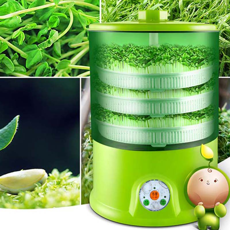 bean sprout machine home grow automatic 3 layers large capacity intelligent multi-functional smart home bean sprout tray machine bear three layers of bean sprouts machine intelligent bean sprout tooth machine dyj b03t1