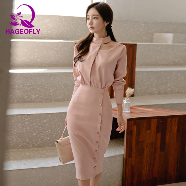 8efb8c13a00 HAGEOFLY Autumn New Korean Dress Elegant Office Ladies Sexy Hollow Out Neck  Bodycon Knee Length Long Sleeve Pink Women Dresses