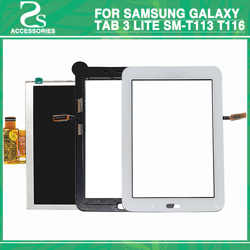 New T113 T116 LCD Touch Screen for Samsung Galaxy Tab 3 Lite SM-T113 T116 Display Touch Panel Digitizer Sensor Glass Lens free shipping touch screen with lcd display glass panel f501407vb f501407vd for china clone s5 i9600 sm g900f g900 smartphone
