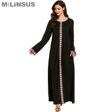 Milinsus black Simple embroidery Women Long Dress O-Neck pocket maxi muslim dresses Plus Size M-4XL Casual womens clothing 2019