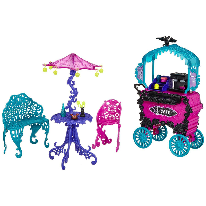 One Set Doll Furniture Travel Scaris Cafe Chair & Cart, New Styles Girls Plastic Toy For Monster Girls High Doll Hadiah Terbaik