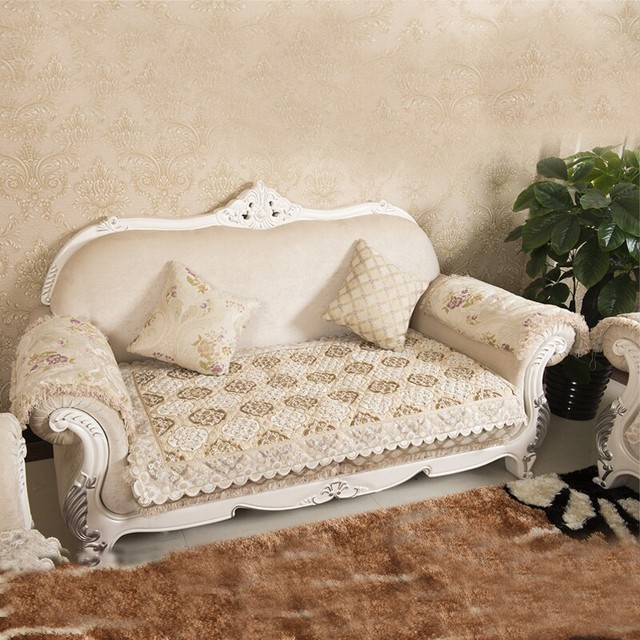 European Luxury Chenille Sectional Sofa Cover Quilted Funds Sofas Cushion  Flocked Stretch Couch Blanket Nonslip Fabric
