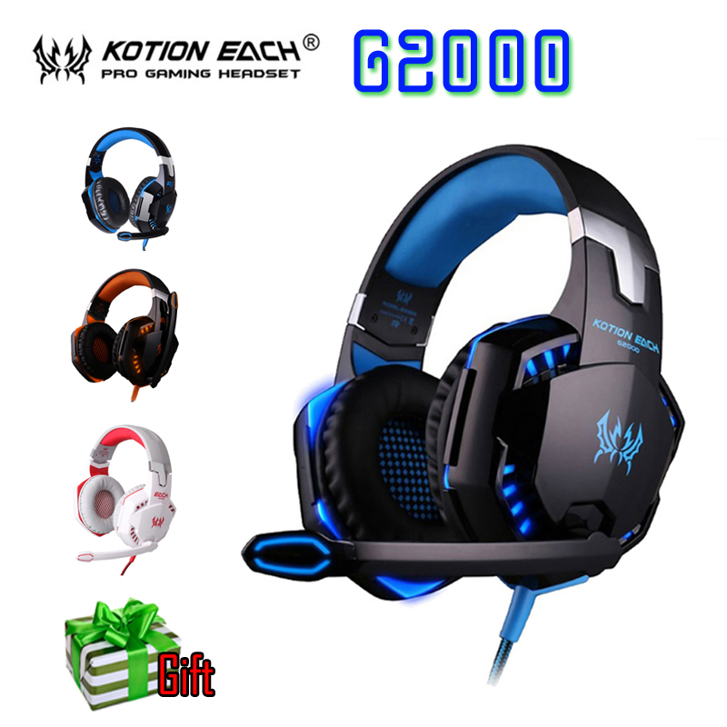 Original KOTION EACH G2000 Over-ear Game Gaming Headphone Headset Earphone Headband with Mic Stereo Bass LED Light for PC Game kotion each g9000 7 1 surround sound gaming headphone game stereo headset with mic led light headband for ps4 pc tablet phone