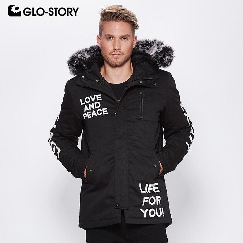 GLO-STORY hommes 2018 taille européenne lettre imprimer Hip Hop fourrure à capuche hiver veste manteaux homme Outwear Snow Parkas MSX-6905