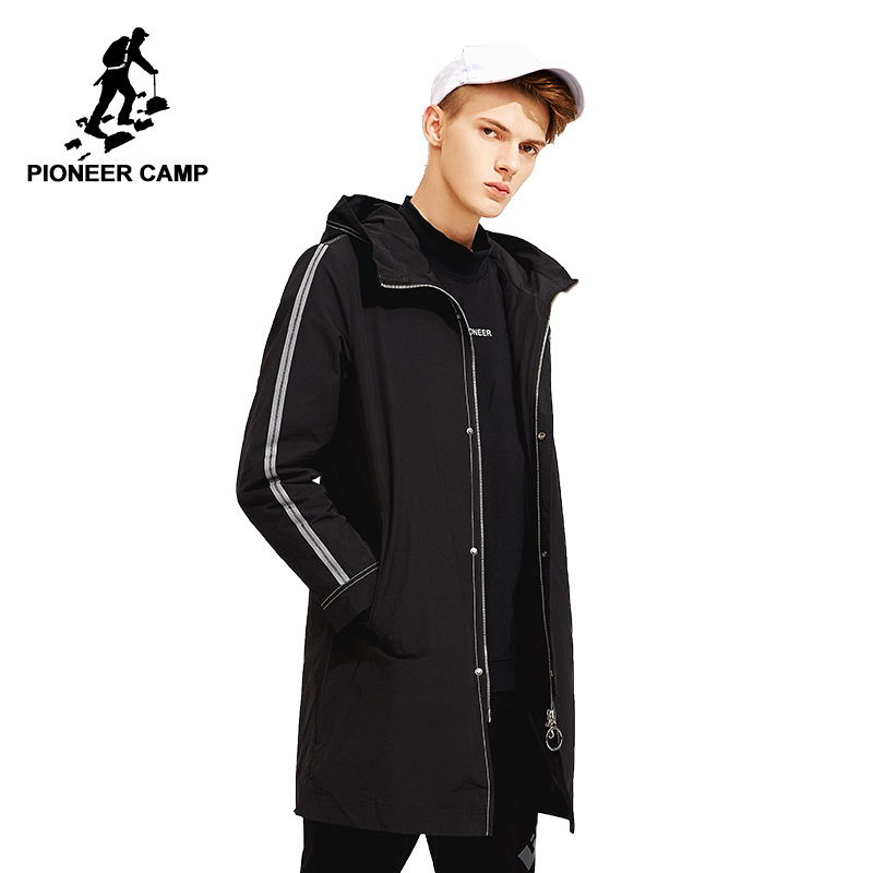 Pioneer camp fashion spring long jacket coat men brand clothing casual zipper mens coat hooded fashion outerwear male