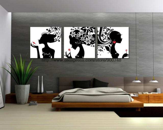 Free shipping 3 pieces black and white mixture oil paintings cute lover wall art modern african
