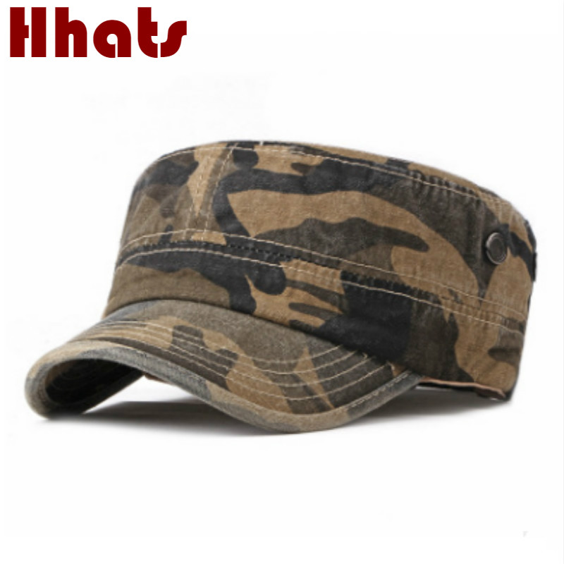 High Quality Camouflage Military Hats For Men Adjustable Unisex Fall Army Cap Casual Camo Flat Navy Army Air Force Flat Top Hat