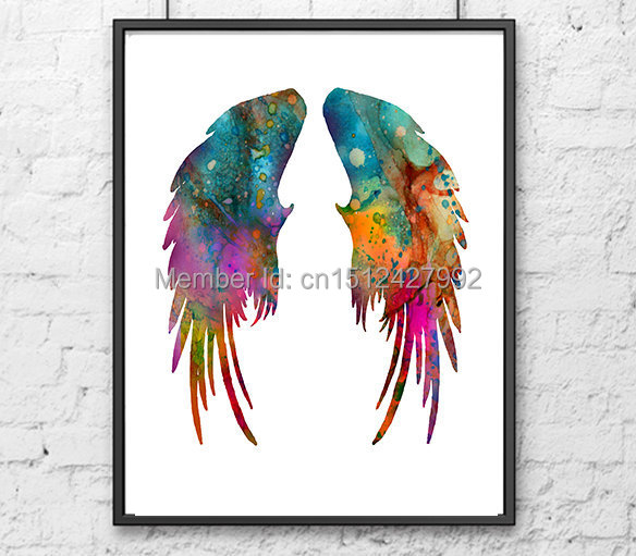 Unframed Modern Home Decor Wall Art Picture For Living Room Angel Wings Feather Watercolor