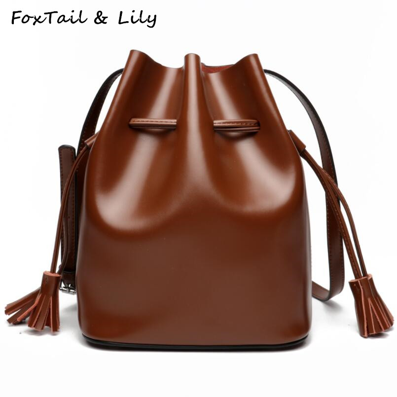 FoxTail & Lily Fashion Korean Style Drawstring Bucket Bag Women Genuine Leather Crossbody Bags Large Capacity Lady Shoulder Bag