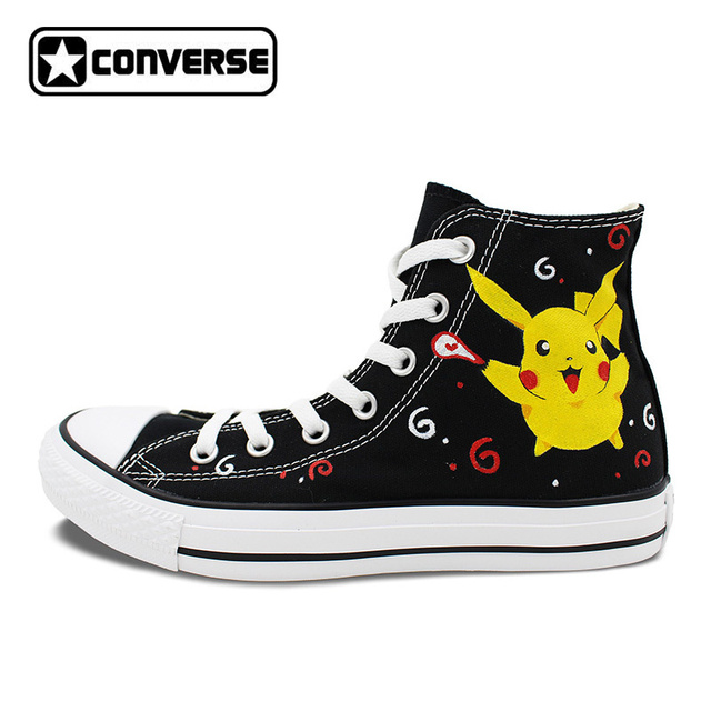 brand new 9cbfb 1fe95 Pikachu Converse Chuck Taylor Black Women Men Shoes Anime Pokemon Design  Hand Painted Shoes High Top Girls Boys Sneakers Gifts