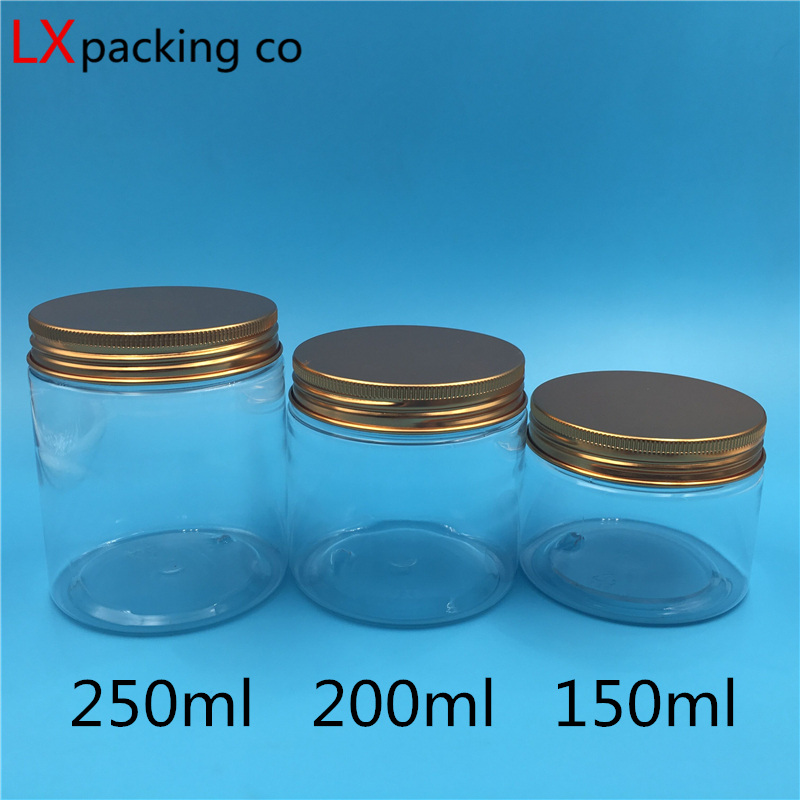 30 pcs Free Shipping Transparent Plastic Empty Jar bottles Rose gold Aluminum Lid Clear Spice Cream Candy Container Bank in Storage Bottles Jars from Home Garden