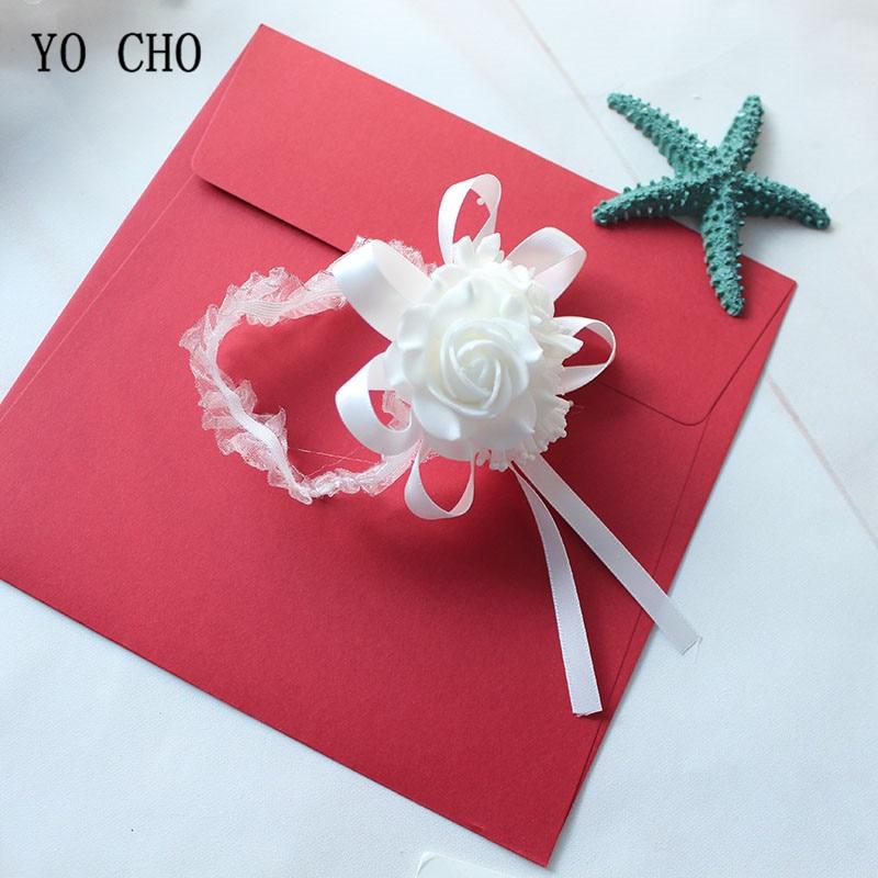 Wedding flower rose white Wrist Corsage Bracelet Boutonniere (19)