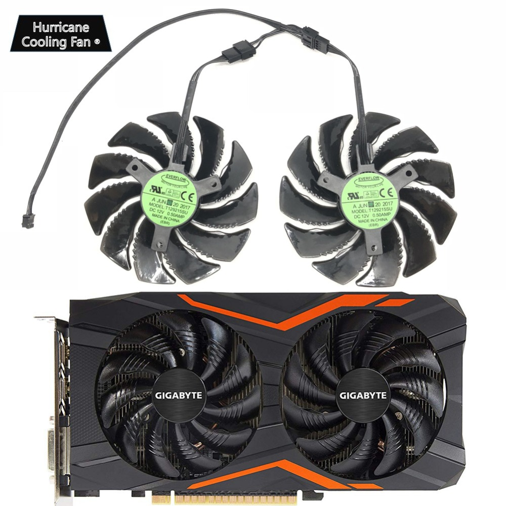 New 88MM T129215SU PLD09210S12HH 4Pin Cooling Fan for Gigabyte GTX 1050 1060 1070 960 RX 470 480 570 580 Graphics Card Cooler image