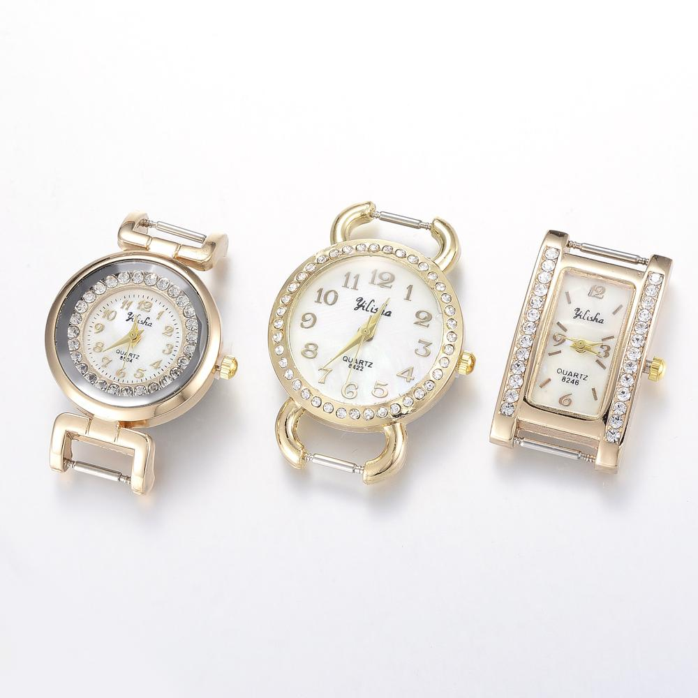 10pcs Golden Tone Mixed Style Alloy Rhinestone Quartz Watch Face Watch Heads Golden Color Watches Accessories