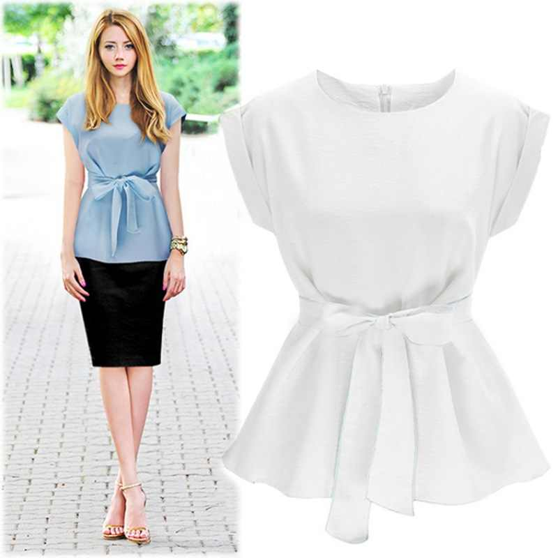 708c538ec ... Fashion Formal Shirts Navy Blue Cotton Bowtie Cap Sleeve women blouse  and tops office Ladies Blouse ...