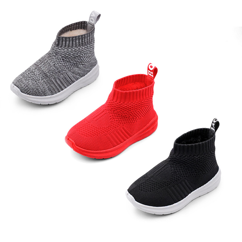 Baby Girl Boy Snow Boots Children Winter Boots Warm Plush Kids Outdoor Boots High Quality Sports Knitted Socks Shoes