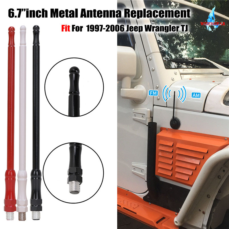 US $11 52 18% OFF|6 7'' 6MM FM Antenna AM Radio Antennas Signal Amplifier  For Jeep Wrangler TJ 1997 2006 Aluminium Roof Aerial Mast Whip WISENGEAR-in