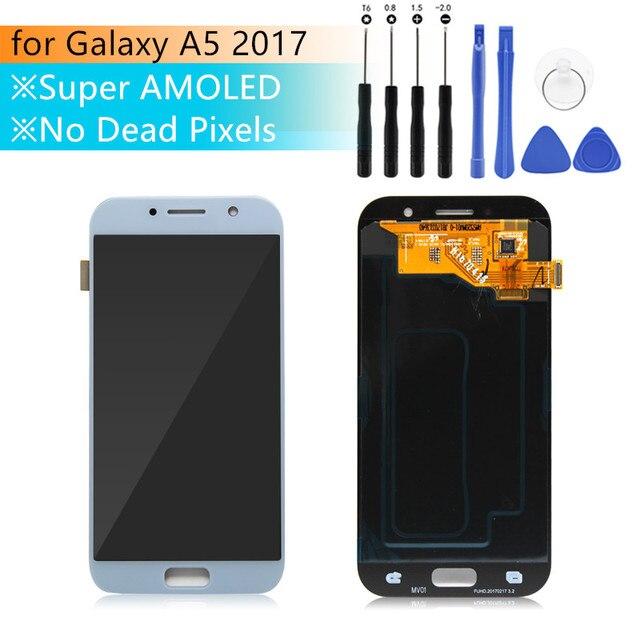 شاشة سوبر amoled لسامسونج A5 2017 شاشة a5 2017 سوبر amoled تعمل باللمس محول الأرقام الجمعية لسامسونج A520 LCD إصلاح أجزاء