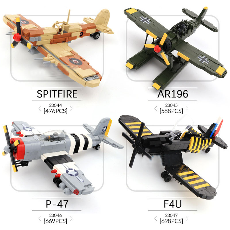 WW2 Military Spitfire Fighter Plane Model Building Kits F4U Corsair Building Blocks Airplane Bricks Model Aircraft Kids Toys new phoenix 11207 b777 300er pk gii 1 400 skyteam aviation indonesia commercial jetliners plane model hobby