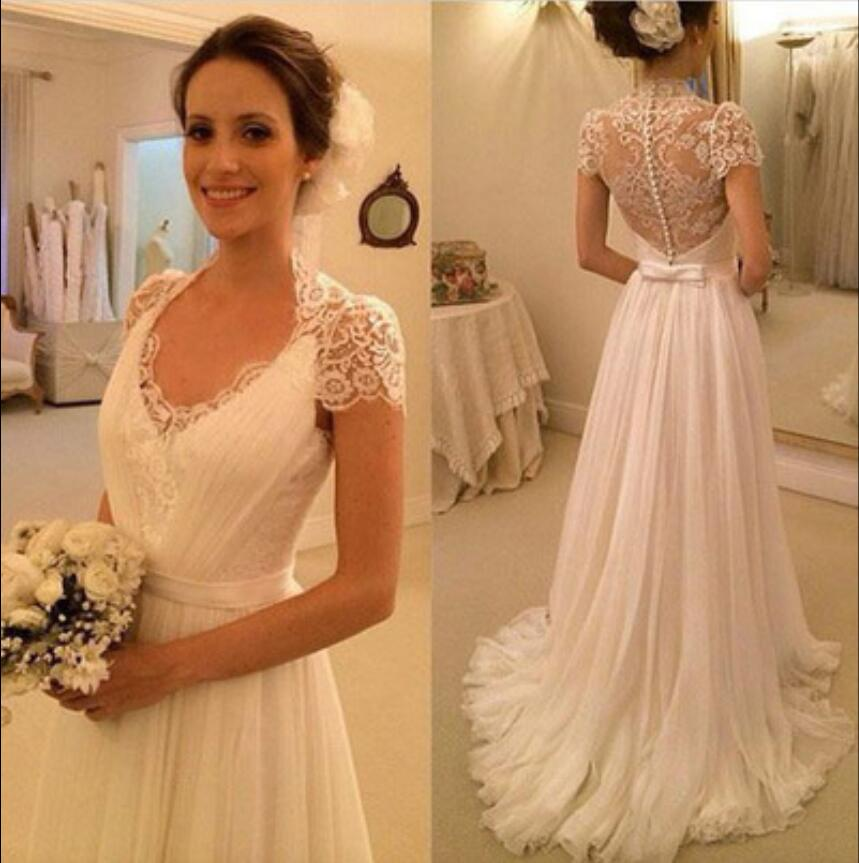 6ce144464350 Detail Feedback Questions about 2018 New Informal Ivory Lace Chiffon Summer  Beach Wedding Dresses Long Cap Sleeves Simple Boho Bridal Gowns vestido de  noiva ...