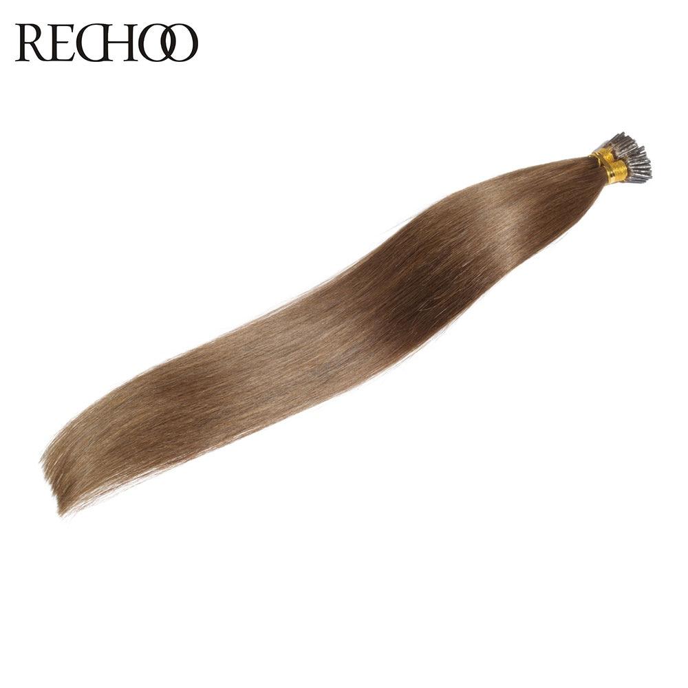 Rechoo Pre bonded I tip Hair Extensions 100 Malaysian Human Hair Keratin Fusion Hair Extensions 4