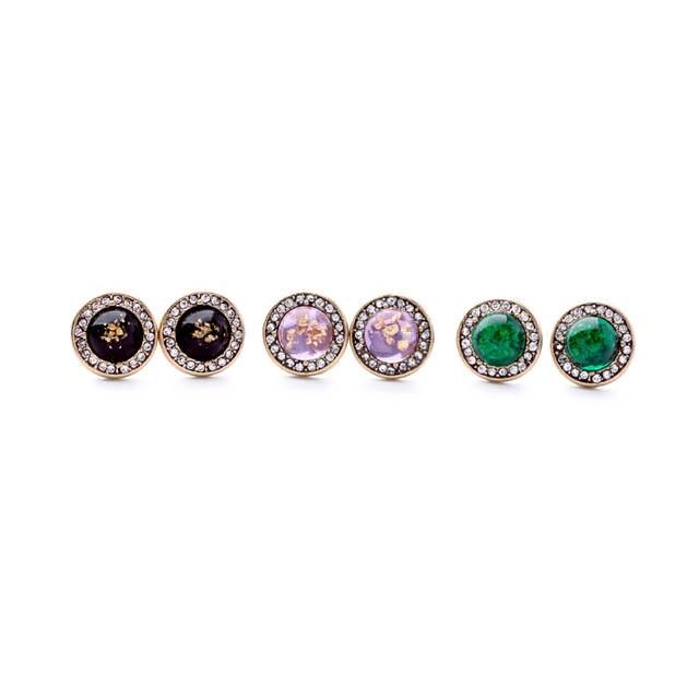 Online Bulk Price Green Purple Sparkle Stud Earrings Las Jewelry Fashion Brand Round Ear Piercing Earring Indian Accessories Aliexpress Mobile